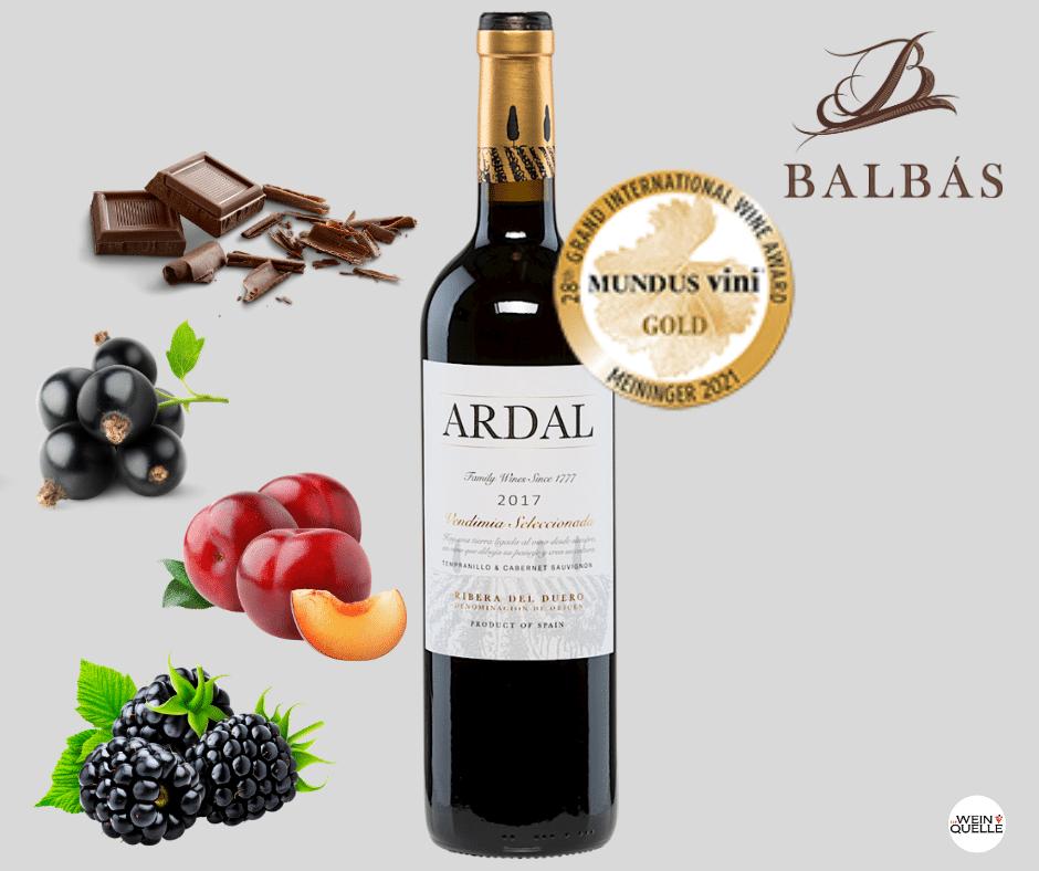 Gold Auszeichnung Mundus Vini 2021 für Ardal von Bodegas Balbas